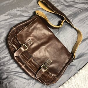 Fossil leather messenger back brown antique